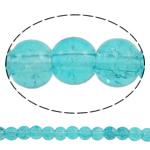 Crackle Glass Beads, Round, turquoise blue, 6mm, Hole:Approx 1mm, Length:Approx 31.5 Inch, 10Strands/Bag, Sold By Bag