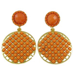 Zinc Alloy Earrings, with Resin, brass post pin, Flat Oval, gold color plated, with rhinestone, orange, nickel, lead & cadmium free, 29x47x4mm, Sold By Pair