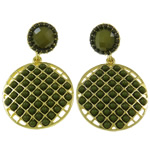 Zinc Alloy Earrings, with Resin, brass post pin, Flat Oval, gold color plated, nickel, lead & cadmium free, 29x47x4mm, Sold By Pair