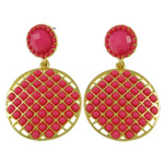 Zinc Alloy Earrings, with Resin, brass post pin, Flat Oval, gold color plated, rose pink, nickel, lead & cadmium free, 29x47x4mm, Sold By Pair