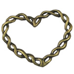 Zinc Alloy Linking Ring, Heart, antique bronze color plated, nickel, lead & cadmium free, 28x33mm, 300PCs/Bag, Sold By Bag