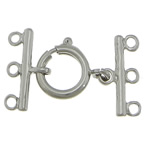 Brass Spring Ring Clasp, platinum color plated, 3-strand, nickel, lead & cadmium free, 12mm, 18x2mm, Hole:Approx 2mm, 200PCs/Lot, Sold By Lot