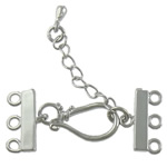 Brass Hook and Eye Clasp, with 1.4 inch extender chain, platinum color plated, 3-strand, nickel, lead & cadmium free, 37mm, 3x15mm, 200PCs/Lot, Sold By Lot