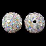 Rhinestone Clay Pave Beads, Round, AB color plated, with rhinestone, white, 12mm, Hole:Approx 2mm, 50PCs/Bag, Sold By Bag