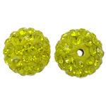 Rhinestone Clay Pave Beads, Round, with rhinestone, Citrine, 12mm, Hole:Approx 2mm, 50PCs/Bag, Sold By Bag