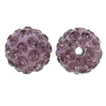 Rhinestone Clay Pave Beads, Round, with rhinestone, light purple, 10mm, Hole:Approx 1.5mm, 50PCs/Bag, Sold By Bag