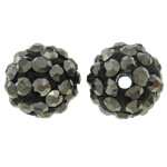 Rhinestone Clay Pave Beads, Round, with rhinestone, Jet Hematite, 10mm, Hole:Approx 1.5mm, 50PCs/Bag, Sold By Bag