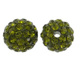 Rhinestone Clay Pave Beads, Round, with rhinestone, olive green, 10mm, Hole:Approx 1.5mm, 50PCs/Bag, Sold By Bag
