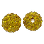 Rhinestone Clay Pave Beads, Round, with rhinestone, golden yellow, 10mm, Hole:Approx 1.5mm, 50PCs/Bag, Sold By Bag
