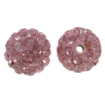Rhinestone Clay Pave Beads, Round, with rhinestone, light pink, 10mm, Hole:Approx 1.5mm, 50PCs/Bag, Sold By Bag