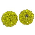 Rhinestone Clay Pave Beads, Round, with rhinestone, Citrine, 10mm, Hole:Approx 1.5mm, 50PCs/Bag, Sold By Bag