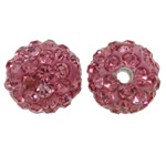 Rhinestone Clay Pave Beads, Round, with rhinestone, light red, 10mm, Hole:Approx 1.5mm, 50PCs/Bag, Sold By Bag