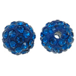 Rhinestone Clay Pave Beads, Round, with rhinestone, blue, 10mm, Hole:Approx 1.5mm, 50PCs/Bag, Sold By Bag