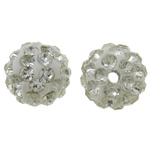Rhinestone Clay Pave Beads, Round, with rhinestone, white, 10mm, Hole:Approx 2mm, 50PCs/Bag, Sold By Bag