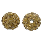 Rhinestone Clay Pave Beads, Round, with rhinestone, yellow, 10mm, Hole:Approx 2mm, 50PCs/Bag, Sold By Bag