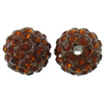 Rhinestone Clay Pave Beads, Round, with rhinestone, tan, 10mm, Hole:Approx 2mm, 50PCs/Bag, Sold By Bag