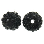 Rhinestone Clay Pave Beads, Round, with rhinestone, black, 10mm, Hole:Approx 2mm, 50PCs/Bag, Sold By Bag