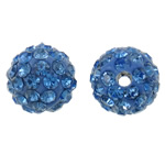 Rhinestone Clay Pave Beads, Round, with rhinestone, blue, 10mm, Hole:Approx 2mm, 50PCs/Bag, Sold By Bag