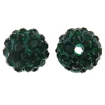 Rhinestone Clay Pave Beads, Round, with rhinestone, deep green, 10mm, Hole:Approx 2mm, 50PCs/Bag, Sold By Bag