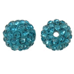 Rhinestone Clay Pave Beads, Round, with rhinestone, acid blue, 10mm, Hole:Approx 2mm, 50PCs/Bag, Sold By Bag