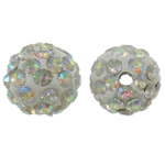 Rhinestone Clay Pave Beads, Round, AB color plated, with rhinestone, white, 10mm, Hole:Approx 2mm, 50PCs/Bag, Sold By Bag