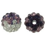 Rhinestone Clay Pave Beads, Round, with rhinestone, 10mm, Hole:Approx 2mm, 50PCs/Bag, Sold By Bag