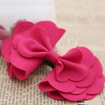 Fashion Decoration Flowers, Cloth, Bowknot, bright rosy red, 100x70mm, 60PCs/Lot, Sold By Lot