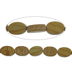 Natural Grain Stone Beads, Flat Oval, 12x8x4mm, Hole:Approx 1.2mm, Approx 33PCs/Strand, Sold Per Approx 16 Inch Strand