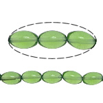 Fashion Glass Beads, Oval, green, 12x8mm, Hole:Approx 1.2mm, Approx 33PCs/Strand, Sold Per Approx 15.5 Inch Strand