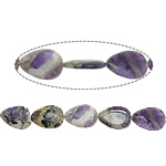 Natural Amethyst Beads, Teardrop, February Birthstone, 36x25x8mm, Hole:Approx 1.8mm, Approx 11PCs/Strand, Sold Per Approx 15.5 Inch Strand