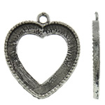 Zinc Alloy Pendant Cabochon Setting, Heart, antique silver color plated, nickel, lead & cadmium free, 26x31x2mm, Hole:Approx 2.5mm, Approx 410PCs/KG, Sold By KG