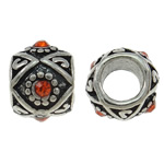 Zinc Alloy European Beads, Drum, antique silver color plated, without troll & with rhinestone, nickel, lead & cadmium free, 10x8mm, Hole:Approx 5mm, 10PCs/Bag, Sold By Bag