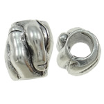 Zinc Alloy European Beads, Hand, antique silver color plated, without troll, nickel, lead & cadmium free, 12x9x10mm, Hole:Approx 4.5mm, 10PCs/Bag, Sold By Bag
