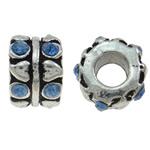 Zinc Alloy European Beads, Column, antique silver color plated, without troll & with rhinestone, nickel, lead & cadmium free, 10x7mm, Hole:Approx 4.5mm, 10PCs/Bag, Sold By Bag