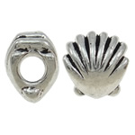 Zinc Alloy European Beads, Shell, antique silver color plated, without troll, nickel, lead & cadmium free, 11x12x9mm, Hole:Approx 4.5mm, 10PCs/Bag, Sold By Bag