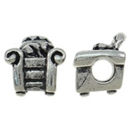 Zinc Alloy European Beads, Sofa, antique silver color plated, without troll, nickel, lead & cadmium free, 12x13.50x10.50mm, Hole:Approx 4.5mm, 10PCs/Bag, Sold By Bag
