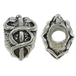 Zinc Alloy European Beads, antique silver color plated, without troll, nickel, lead & cadmium free, 10x14.50x10.50mm, Hole:Approx 4mm, 10PCs/Bag, Sold By Bag