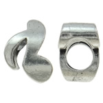 Zinc Alloy European Beads, Music Note, antique silver color plated, without troll, nickel, lead & cadmium free, 8x11x7mm, Hole:Approx 4.5mm, 10PCs/Bag, Sold By Bag