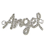 Letter Zinc Alloy Connector, word angel, silver color plated, with rhinestone & 1/1 loop, nickel, lead & cadmium free, 40x22x2.50mm, Hole:Approx 2.5mm, 50PCs/Lot, Sold By Lot