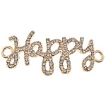 Letter Zinc Alloy Connector, word happy, rose gold color plated, with rhinestone & 1/1 loop, nickel, lead & cadmium free, 46x16x2mm, Hole:Approx 3mm, 100PCs/Lot, Sold By Lot
