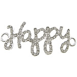 Letter Zinc Alloy Connector, word happy, silver color plated, with rhinestone & 1/1 loop, nickel, lead & cadmium free, 46x16x2mm, Hole:Approx 3mm, 100PCs/Lot, Sold By Lot
