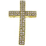 Krzyż złącze ze stopów cynku, Stop cynku, Platerowane w kolorze złota, z kamieniem & kółko 2/2, bez zawartości niklu, ołowiu i kadmu, 22x35x5mm, otwór:około 2mm, 100komputery/wiele, sprzedane przez wiele