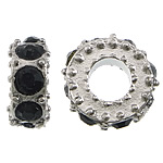 Zinc Alloy Spacer Beads Donut platinum color plated with rhinestone nickel lead   cadmium free 5x10mm Hole:Approx 4.5mm 200PCs/Lot