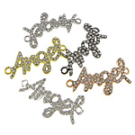 Letter Zinc Alloy Connector, word angel, plated, with rhinestone & 1/1 loop, mixed colors, nickel, lead & cadmium free, 40x22x2.50mm, Hole:Approx 2.5mm, 50PCs/Lot, Sold By Lot