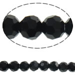 Imitation CRYSTALLIZED™ Element Crystal Beads, Round, faceted, Jet, 4mm, Hole:Approx 1mm, Length:Approx 14.3 Inch, 10Strands/Bag, Sold By Bag
