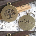 Zinc Alloy Pendants, Coin, antique bronze color plated, nickel, lead & cadmium free, 23.50x19.50mm, Hole:Approx 2mm, 150PCs/Bag, Sold By Bag