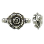Flower Zinc Alloy Connector, antique silver color plated, 1/1 loop, nickel, lead & cadmium free, 22x11x8mm, Hole:Approx 1.5mm, Approx 430PCs/KG, Sold By KG