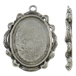 Zinc Alloy Pendant Cabochon Setting, Flat Oval, antique silver color plated, nickel, lead & cadmium free, 34x43x3mm, Hole:Approx 3mm, Approx 110PCs/KG, Sold By KG