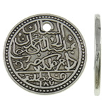 Zinc Alloy Pendants, Coin, antique silver color plated, nickel, lead & cadmium free, 35x2mm, Hole:Approx 3mm, 90PCs/KG, Sold By KG