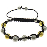 Stainless Steel Shamballa Bracelets, with Rhinestone Clay Pave Bead & Nylon Cord, gold color plated, 10mm, 10mm, 8mm, Length:7-13 Inch, 10Strands/Lot, Sold By Lot